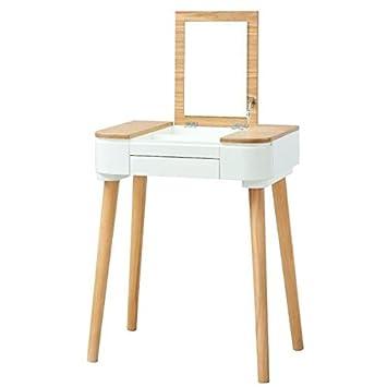 LYA Coiffeuse scandinave laqué blanc mat plateau placage bois frene ...