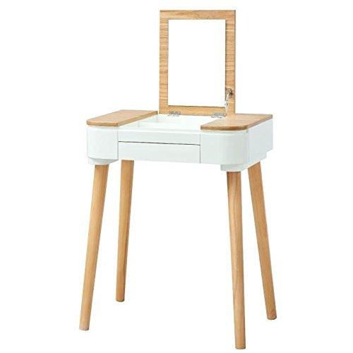 LYA Coiffeuse scandinave laqué blanc mat plateau placage bois ...