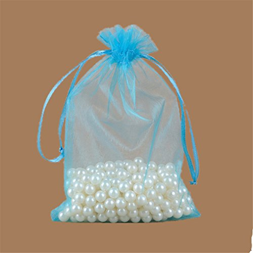 50Pcs Organza Sheer Gauze Element Jewelry Bags Packing Drawable Organza Bags Wedding Gift Bags Sachet Organza 5Z-Sh316 lake blue 15x20cm