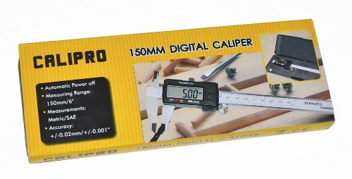 Digital Caliper Stainless Steel with XL LCD Screen Instant SAE-Metric Conversion with Case and Spare Battery 6 Electronic Caliper by Calipro