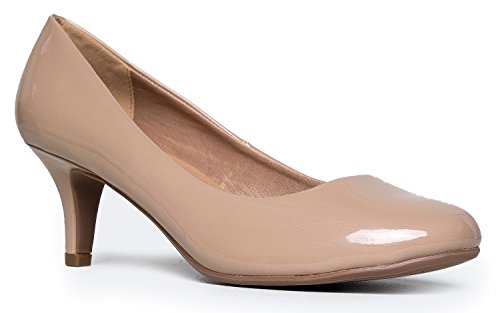 Womens Classic Closed Toe Kitten Heel Pump | Dress, Work, Party Mid Heeled Pumps | high Casual Comfortable Sale;Color-Beige Patent; Size-8