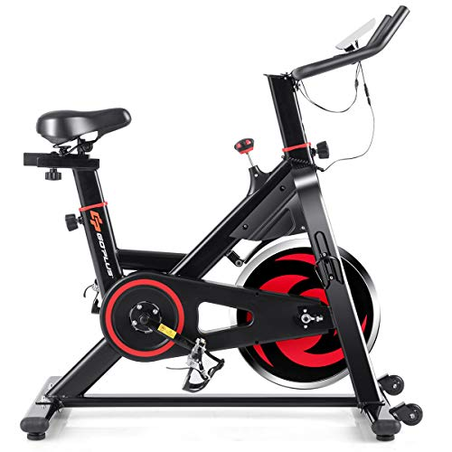 GOPLUS Indoor Cycling Stationary Bike, Noise-Free Magnetic Belt Drive Exercise Bike Workout Bike w/LCD Monitor and Heart Rate Sensor, for Home Gym Cardio Exercise