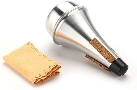 Silenciador recto para trompeta de pr/áctica de aluminio silenciador de trompeta con pa/ño de limpieza silenciador de trompeta de aluminio ligero para jazz
