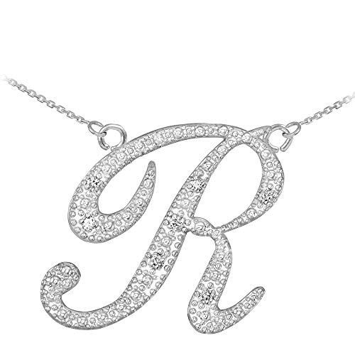 Double-Mounted 14k White Gold Diamond Script Letter R Initial Pendant Necklace ()