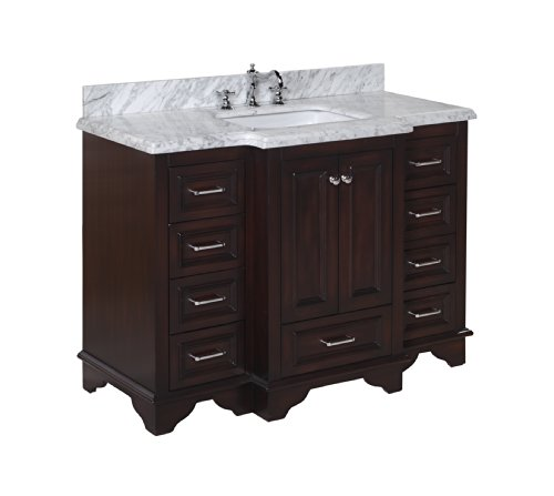 Kitchen Bath Collection KBC1248BRCARR Nantucket Bathroom Vanity with Marble Countertop, Cabinet with Soft Close Function and Undermount Ceramic Sink, Carrara/Chocolate, 48