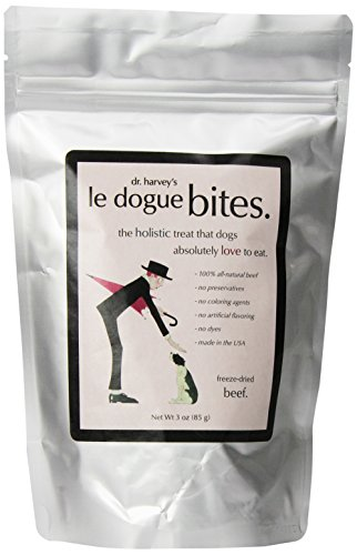 Dr. Harvey's Le Dogue Bites Freeze Dried Single Ingredient Treats for Dogs, Beef, 3-Ounce Bag