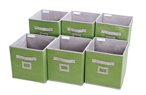 Storage Cube Box, Fabric Storage Bin By StorageWorks, Green, Medium, 6-Pack, 10.6x10.6x11.0 inches