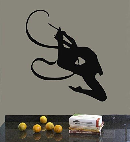 Wall Decor Vinyl Decal Sticker Kids Girl Gymnast with Ribbon Dance Sport Gym Kj293