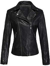 Womens Cool Stylish Lapel Asymmetric Zip Slim Faux Leather Biker Jacket
