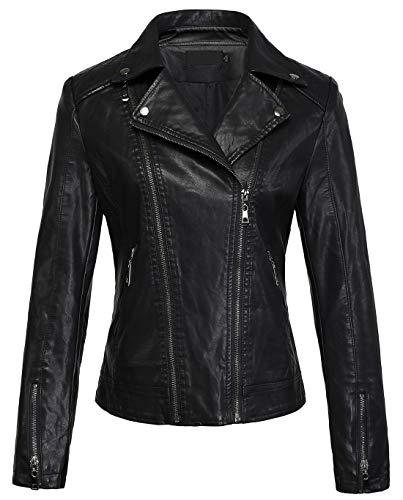 (chouyatou Women's Cool Stylish Lapel Asymmetric Zip Slim Faux Leather Biker Jacket (X-Small, Black))