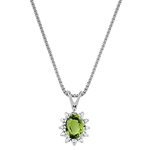 August Birthstone Pendant Necklace Peridot in Sterling Silver or Yellow Gold Plated Silver 925