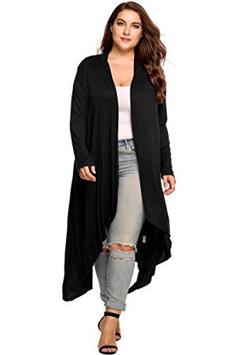 Zeagoo Women's Plus Size Long Sleeve Waterfall Asymmetric Drape Open Front Long Maxi Cardigan Sweater, Black, XXXXX-Large