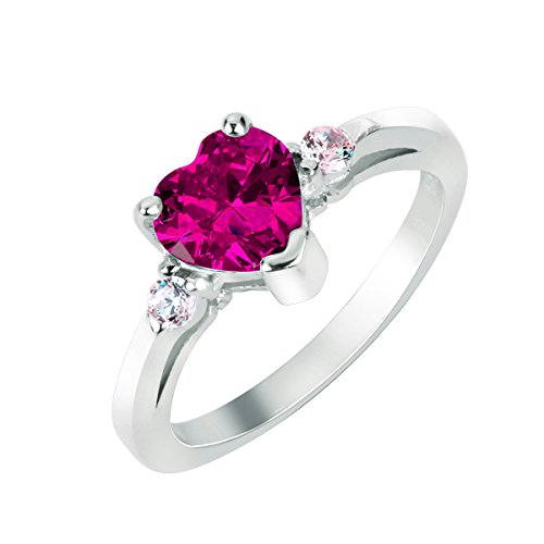 CloseoutWarehouse Rose Pink Cubic Zirconia Heart Promise Ring Sterling Silver Size ()