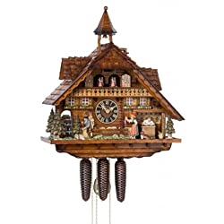 River City Clocks MD886-22 Eight Day Musical Cuckoo Clock with Moving Clockmaker, Bell Ringer, & Clock Peddler