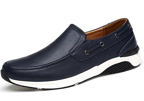 M盲nner Slip-On Oxford Boutique Skateboard Schuhe L盲ssige Schuhe Weiches Leder Leder Mit Bequemen Ebenen Schuhe , blue , 41