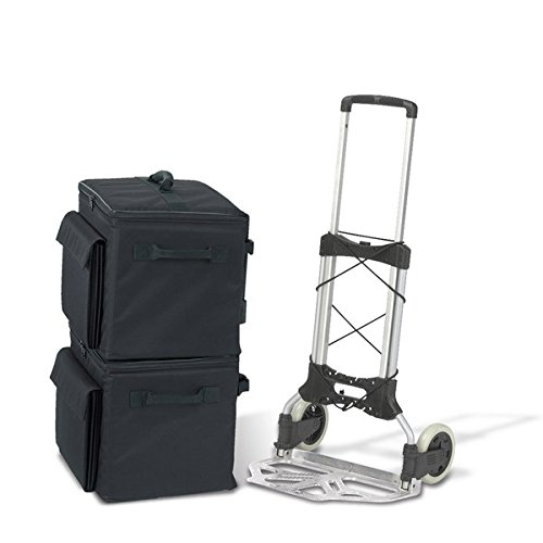Bindertek Soft Sided Binder Case and Heavy Duty Cart, 2 Cases, Black (CD4-BK) ()