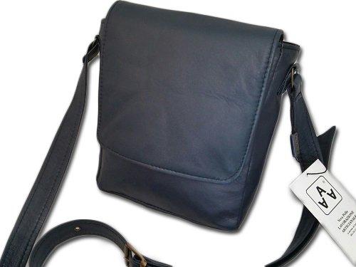 Borsello in pelle uomo artigianato italiano L18XH20XP4 cm Mod : Gio Mini Blu