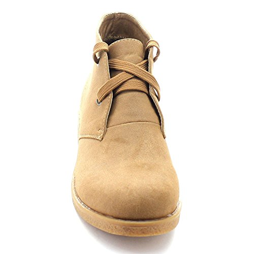 Over 02 Fold Flat Women's Lace Cuff Up Nature Camel Ease Booties Ankle Soft Breeze E6w48Zq
