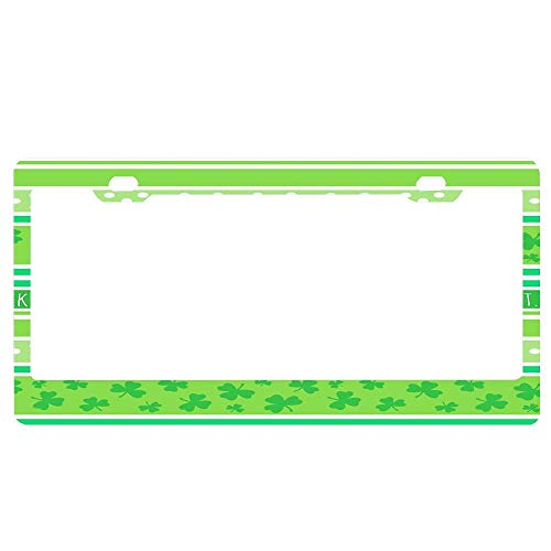 ASLGlicenseplateframeFG Happy St Patrick's Day Green Stripes Pattern Personalized License Plate Frame Aluminum Decorative Car Plate Frame Outdoors Auto License Plate Frame