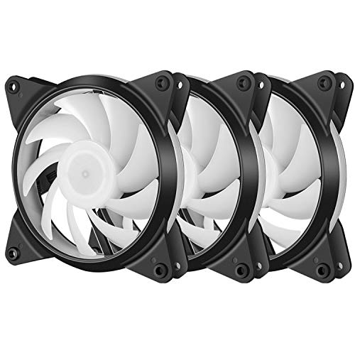 upHere 3-Pack High Airflow Quiet Edition Black and White Case Fan for PC Cases T3BKW3-3