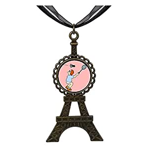 Chicforest Bronze Retro Style Olympics badminton player strike a forehand Eiffel Pendant