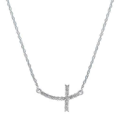 0.05 Carat (ctw) Dainty Sterling Silver Round Diamond Ladies Cross Pendant (Silver Chain Included) ()