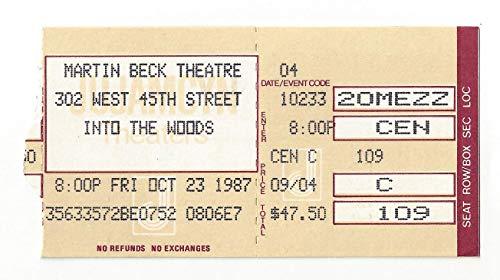 "Stephen Sondheim""INTO THE WOODS"" Bernadette Peters/Chip Zien/Joanna Gleason 1987 Broadway Preview Ticket Stub"
