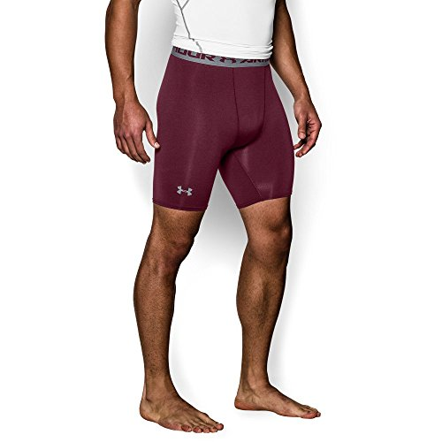 Under Armour Men's HeatGear Armour Compression Shorts – Mid, Maroon/Steel, Small