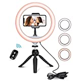 "10.2"" Selfie Ring Light with Tripod Stand, Adjustable Tripod with Phone Holder Mount for Makeup & YouTube Live Stream, Dimmable LED Lightning with Remote, Compatible with iPhone / Android Phone / Lightweight Camera"