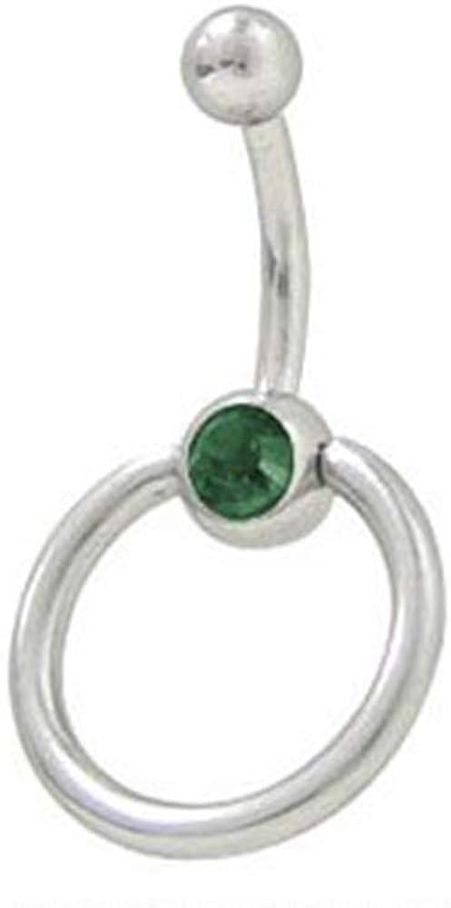 BodyJewelryOnline Door Knocker Belly Button Ring with Dark Green Cz Gem