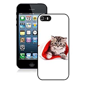 Recommend Design Small Cute Cat In Christmas Hat Black Phone Case For Iphone 5s,Iphone 5 TPU Case,Apple Iphone 5s
