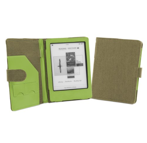 Cover-Up Kobo Glo eReader Natural Hemp Cover Case With Auto Sleep / Wake Function (Book Style) - (Khaki Green)