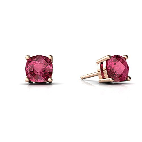 14kt Rose Gold Pink Tourmaline 5mm Cushion Checkerboard Cushion Stud Earrings