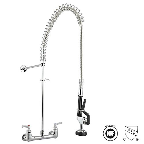 Aquaterior Chrome Double Handle Brass Pre-Rinse Commercial Wall-mount Faucet w/Pull Down Restaurant CUPC NSF ANSI (Backsplash Brass)