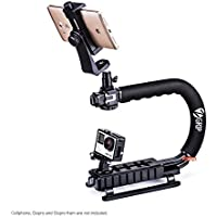 Zeadio Triple Hot-Shoe Mounts Handheld Stabilizer + Smartphone Holder Mount + 360 Degree Rotating Swivel Adapter for iPhone Sumsung Sony LG Huawei Motorola Cellphone Digital SLR Camera Camcorder