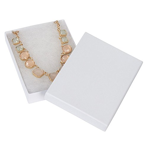 Embossed Box - SSWBasics 5 ¼ x 3 ¾ x ⅞ inch White Embossed Cotton Filled Jewelry Boxes - 100 Included