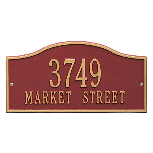Whitehall Products Metal Address Plaque Personalized Cast The Rolling Hills Plaque. Display Your Address and Street Name. Custom House Number Sign. (Red/Gold)