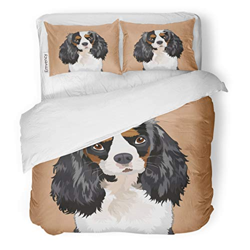 Emvency Decor Duvet Cover Set Full/Queen Size Vector Cavalier King Charles Spaniel The Buddy Dog Art Cartoon 3 Piece Brushed Microfiber Fabric Print Bedding Set Cover