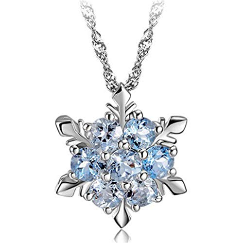 1PC Shiny Pendants Necklaces For Women Jewelry Romantic Crystal Rhinestone 925 Sterling Silver Pendant blue