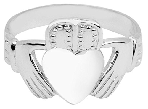 Men's Solid 14k White Gold Classic Polished Band Irish Claddagh Ring (16)