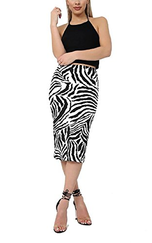 Rimi Hanger Womens Printed Stretch Bodycon Midi Skirt Ladies Fancy Party Wear Pencil Skirt Zebra Print XX Large