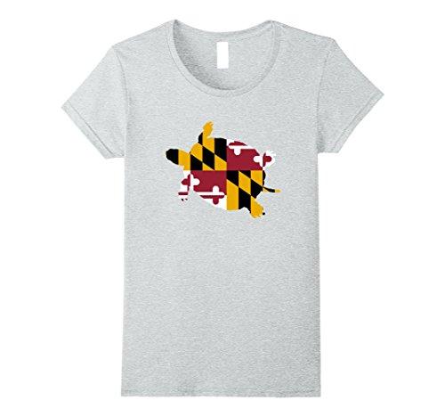 Womens Maryland Diamondback Terrapin Flag Design Small Heather Grey