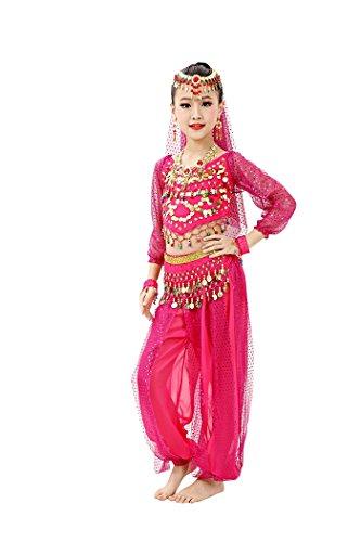 [So Sydney Girls Kid Childrens Deluxe Belly Dancer Halloween Costume Complete Set (XL (12), Dark Pink)] (Dancer Costumes For Halloween)