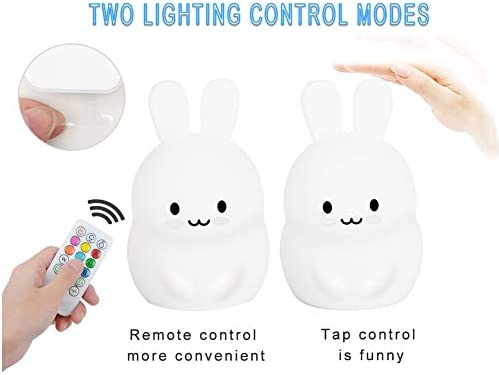 Yuede Kids Night Light Silicone Light USB Rechargeable Rabbit Night Light 9 Color Change Sensitive Tap Control for Baby//Kids//Adult Bedroom Remote Control