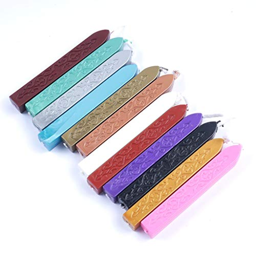 Fay Waters Candle 12 Colors 2pcs Traditional Cord Wick Vintage Sealing Wax Sticks for Postage Color ()