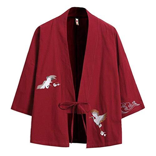 Chaqueta Abierta Bordado De con Lanceyy Jóvenes Simple Kimono 4 Capa Haori Casual Estilo Chaqueta Cordón Abierto Winered Manga Hombre para 3 Verano para Sari De De pgpUwE