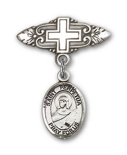 Icecarats Créatrice De Bijoux En Argent Sterling St. Perpetua Broche De Badge Charme Avec Une Croix X 3/4