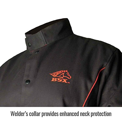 BSX Flame-Resistant Welding Jacket - Black with Red Flames, Size 3X-Large by Revco (Image #1)