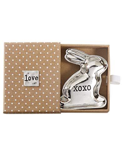 (Mud Pie Mini Metal Bunny Trinket Dish with Gift Box, 2x2 inches, XOXO-Love)