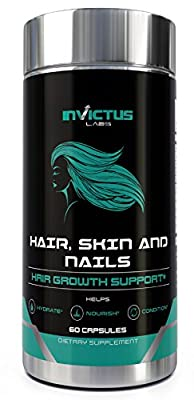 High Potency Hair Growth Vitamin - For Longer, Stronger, Healthier Hair, Biotin & Antioxidants for Healthy Nourished Appearance of Skin & Nails, For All Hair Types - 60 Capsules